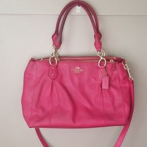 Coach hot pink leather tote crossbody
